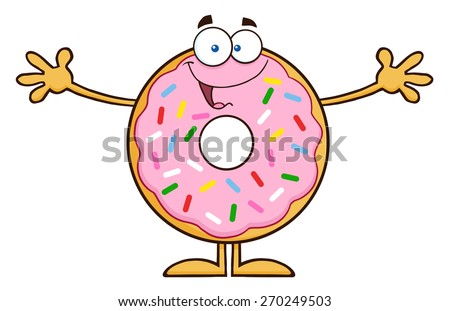 Funny Donut Cartoon Character With Sprinkles Wanting A Hug. Raster Illustration Isolated On White - stock photo