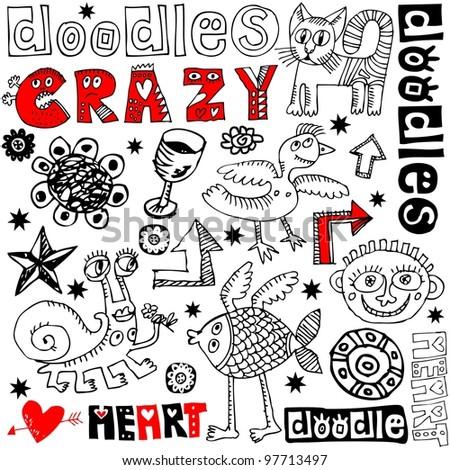 funny doodle set, hand drawn design elements isolated on white background - stock photo