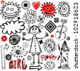 funny doodles isolated on white background - stock photo