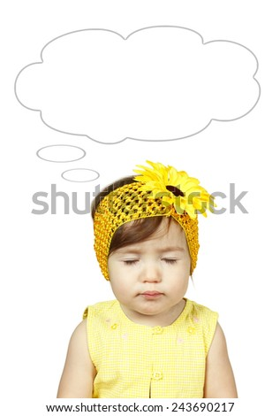 Funny dreaming child isolated on white, hairstyle with flower - stock photo