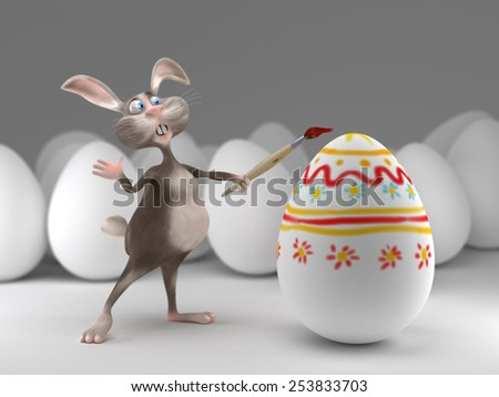 Funny Easter Bunny paints on eggs. Holiday 3d illustration - stock photo