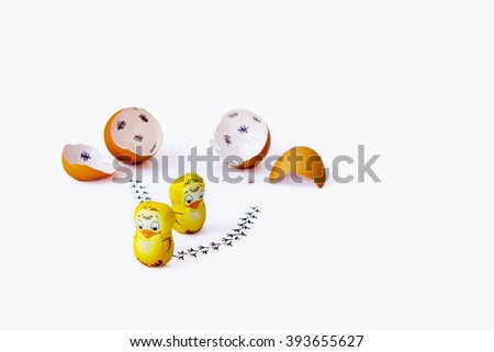 Funny Easter countdown with chocolate chickens - wishes - stock photo