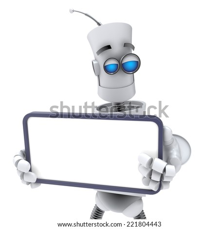 FUNNY EMOTIONAL ROBOT. Cyborg. Android. Isolated character. 3d render - stock photo