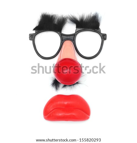 funny face: fake glasses and eyebrows, clown nose, mustache and mouth on a white background - stock photo