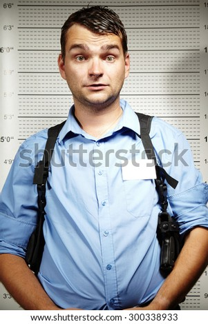 Funny face of police - stock photo