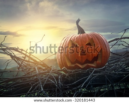 Funny face pumpkin sitting on grapevine and fence - stock photo