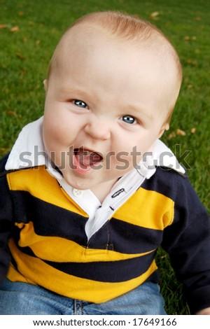 Funny Faced Baby Boy - stock photo
