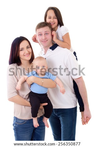 funny family portrait - father, mother, daughter and son isolated on white background - stock photo