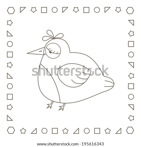 Funny fat bird. Coloring page. Coloring book. - stock photo