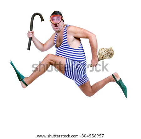 funny fat man in a retro swimsuit running isolated on white background.Tourist in vintage style swimwear running with snorkel and a shell in his hand. Last moment for rushing recreational swimmers. - stock photo
