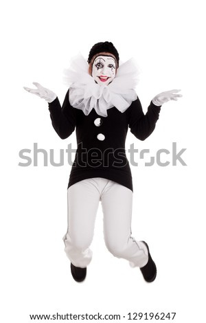 funny female clown is jumping, isolated - stock photo