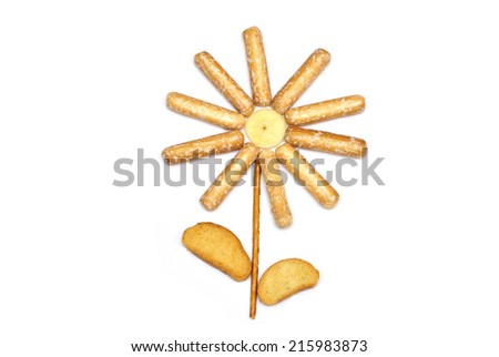 Funny flower of crackers and breadsticks  - stock photo