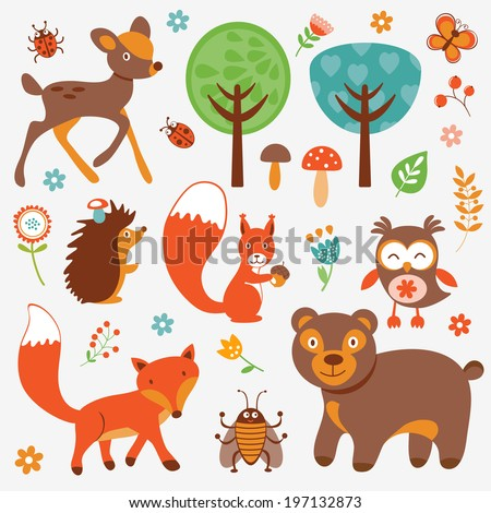 Funny forest animals collection - stock photo