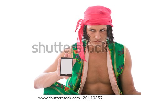 funny fortune teller with tarot cards and shallow dof - stock photo