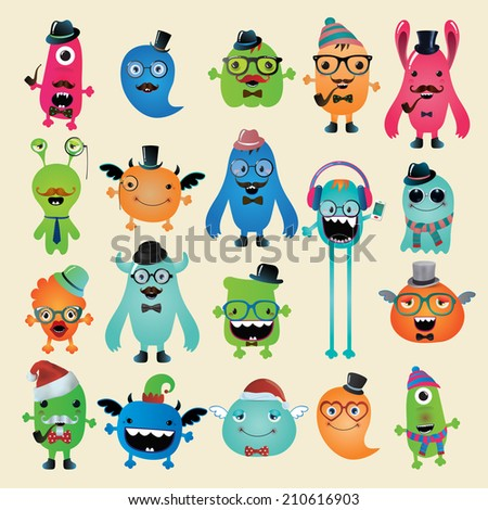 Funny Freaky Hipster Monsters Set, Illustration. Isolated, Image - stock photo