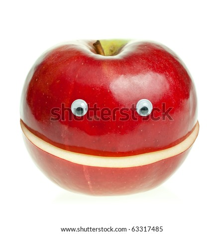 Funny fruit character Red Smiling Apple on white background - stock photo