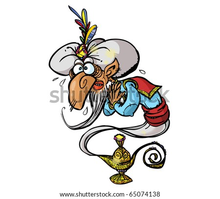 Funny genie in a lamp on white background. - stock photo