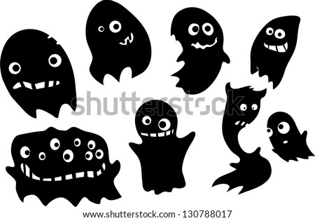 Funny ghosts silhouettes for helloween flying around with cute expressions - stock photo