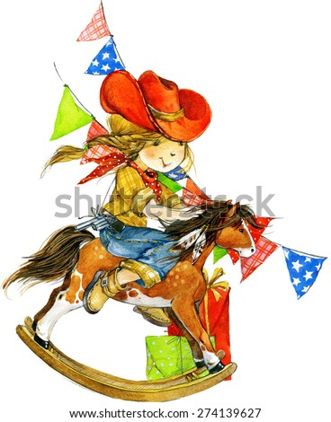 Funny girl and birthday holiday background for kids congratulations. watercolor illustration - stock photo