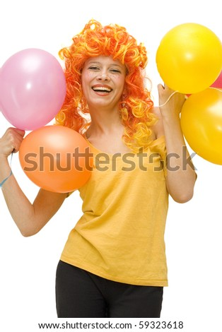 Funny girl in a bright wig laughs - stock photo