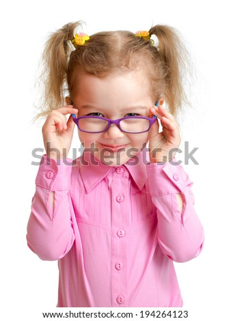 Funny girl in glasses isolated on white - stock photo