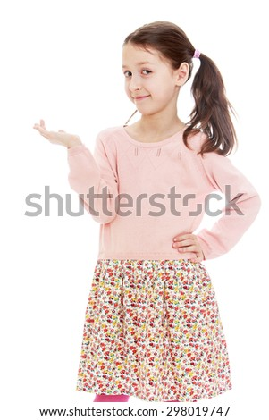 Funny girl schoolgirl in a long calico dress, gestures with hand, close-up-Isolated on white background - stock photo