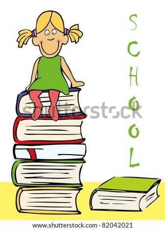 Funny girl sitting on the books - stock photo