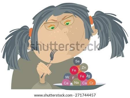 Funny girl with a plate full of vitamin - stock photo