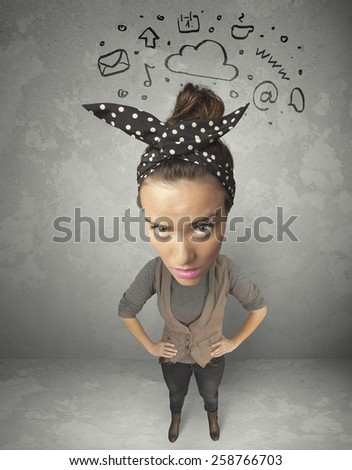 Funny girl with big head and drawn social media marks over it  - stock photo
