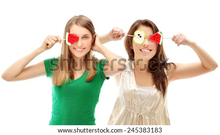 Funny girl with lollipops - stock photo
