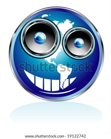 Funny Globe/Smile with Speaker eyes - stock photo