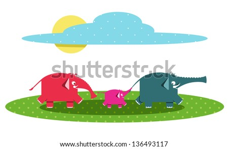 Funny Graphic Elephants Family. Raster variant. - stock photo