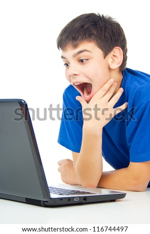 funny guy learns lessons with laptop - stock photo