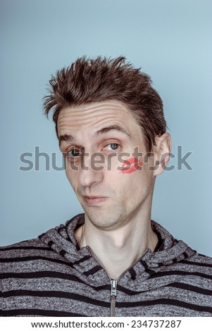 funny guy sealed with a kiss - stock photo
