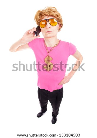 Funny guy talking on the phone - stock photo