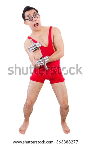 Funny guy with dumbbels on white - stock photo