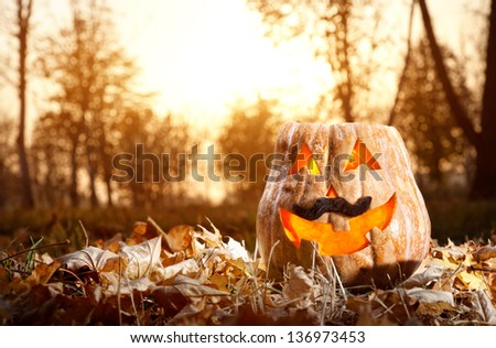 Funny Halloween pumpkin glowing inside with black moustache in autumn forest - stock photo