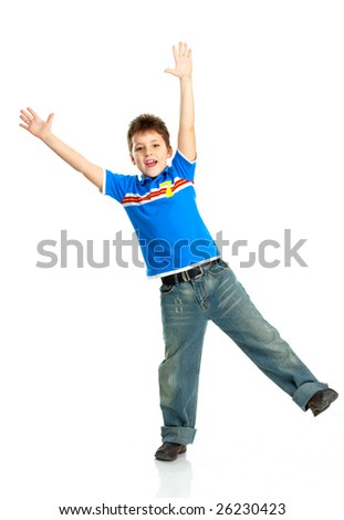 Funny happy boy. Isolated over white background - stock photo