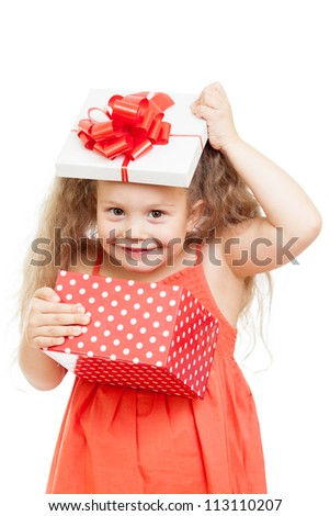funny happy child girl opening gift box - stock photo