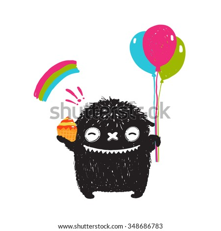 Funny Happy Cute Little Black Monster with Sweets Balloons Rainbow. Sweet kids playful holiday fictional character picture smiling. Raster variant. - stock photo