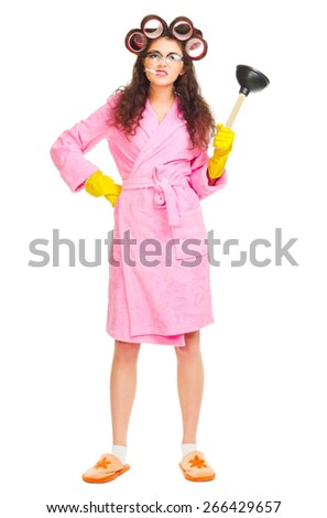 Funny housewife with plunger isolated - stock photo