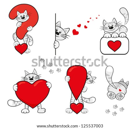 Question Mark Cat Red Heart Question Mark
