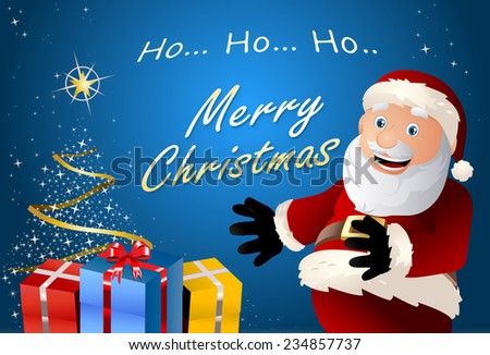 Funny illustration of a santa claus who  seems happy after put gifts on christmas background - stock photo