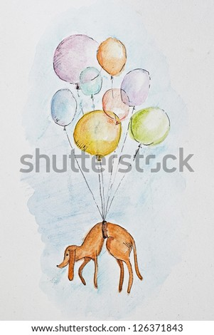 Funny illustration of the dog flying in the sky with balloons - stock photo