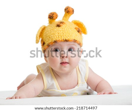 funny infant baby isolated on white - stock photo