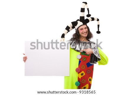 funny joker portrait with blank board on white background - stock photo