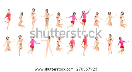 Funny Jumping Girl Active  - stock photo