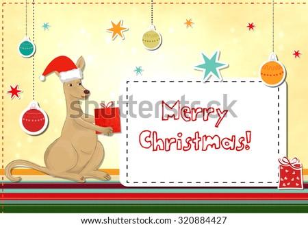 funny kangaroo celebrating christmas - stock photo