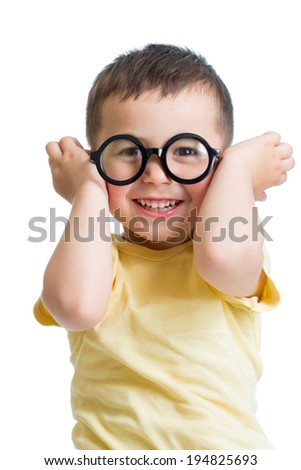 funny kid boy wearing glasses - stock photo