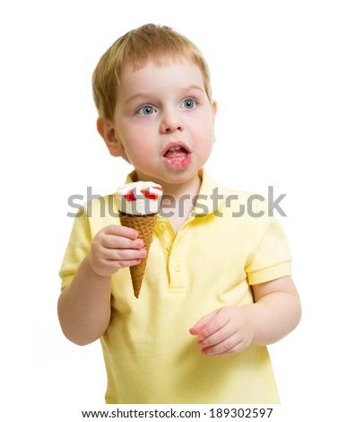 funny kid eating ice cream isolated on white - stock photo